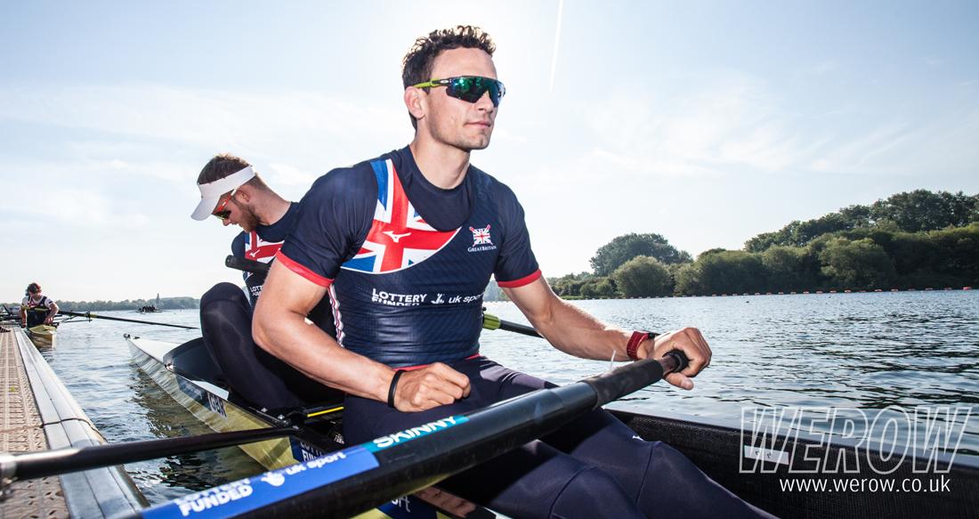 James Rudkin and Josh Bugajski of the GB Mens eight rowing at Caversham