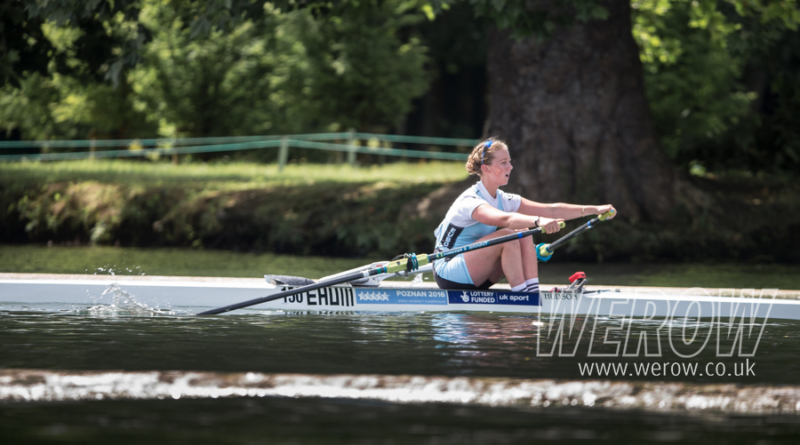 Laura Macdonald of Edinburgh University sculling at Henley Women's Regatta