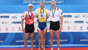 Ondrej Synek, gold, Czech Republic, Roman Roeoesli, silver, Switzerland, Oliver Zeidler, bronze, Germany, Men's Single Sculls, 2018 World Rowing Cup I, Belgrade, Serbia