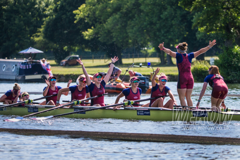 Oxford Brookes celebrate winning Aspirational 8's at Henley Women's Regatta 2018