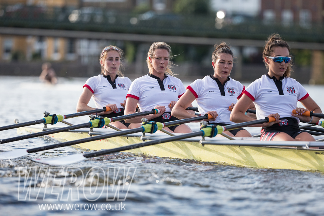 Thames Rowing Club women's quad training for Henley Women's Regatta on the Tideway