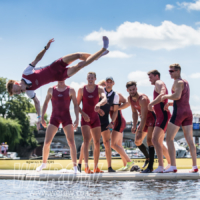 Oxford Brookes celebrate winning at Henley Royal Regatta in 2017