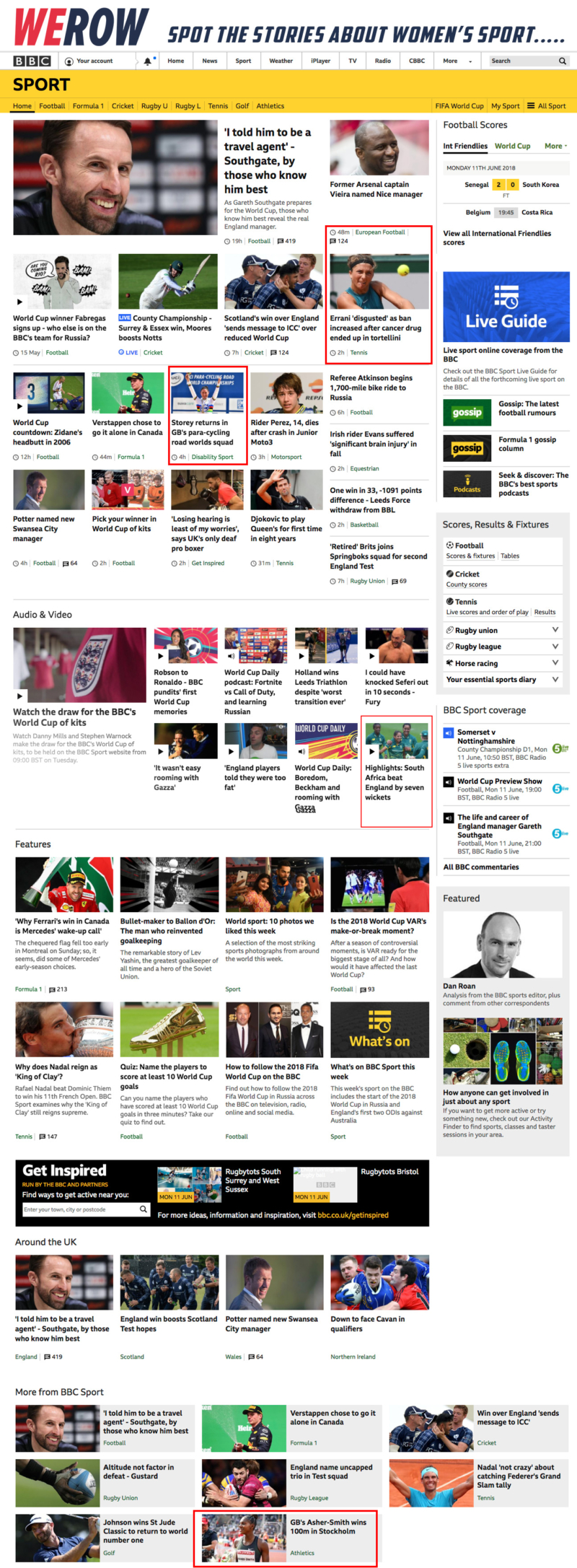 BBC Sport showing just 4 items of women's sporting news
