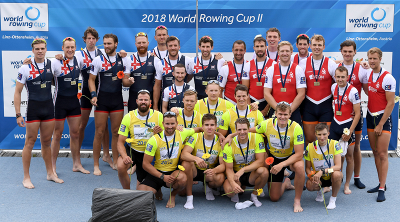 Germany, Great Britain and Holland with their medals at World Rowing Cup II in Linz