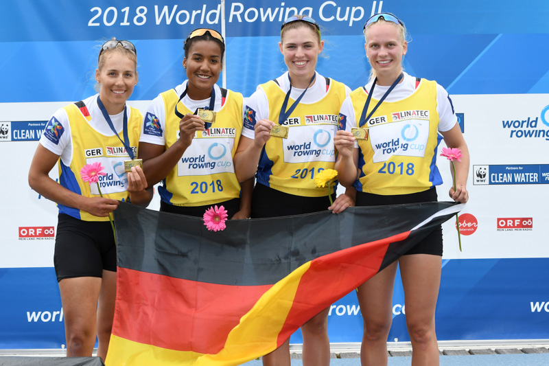 The German quadruple scull on the podium at World Rowing Cup II in Linz