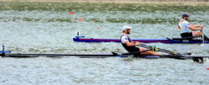 Robbie Manson of New Zealand crossing the line at World Rowing Cup II in Linz to take the gold medal