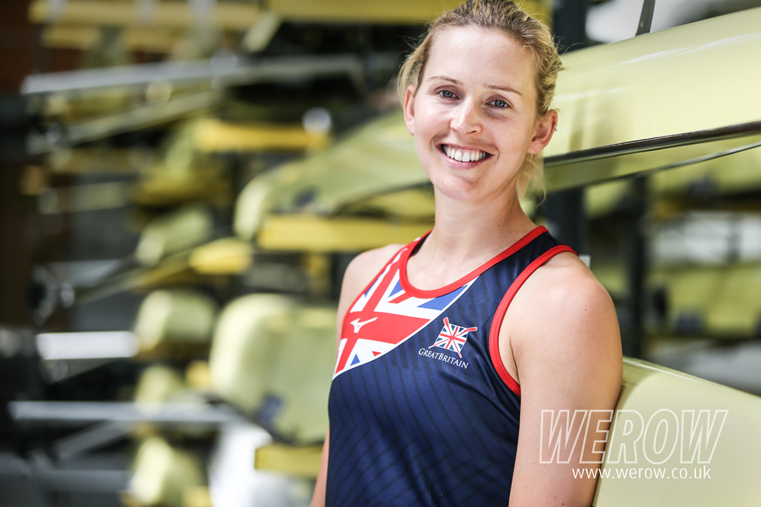 GB sculler, Vicky Thornley, in the boathouse at Caversham