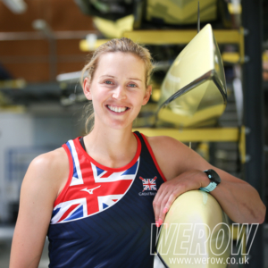 GB sculler, Vicky Thornley, in the boat shed at Caversham