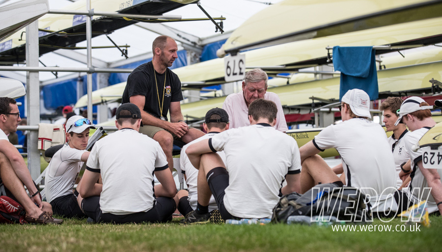 Bobby Thatcher of St Pauls School and Donal Leggett brief the St Pauls crew at Henley Royal Regatta