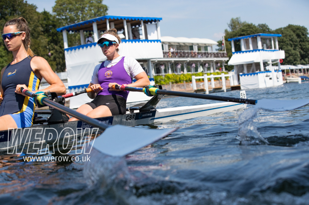 Charlotte Hodgkins-Byrne and Anna Thornton row up to the start of the Stonor Cup at Henley Royal Regatta