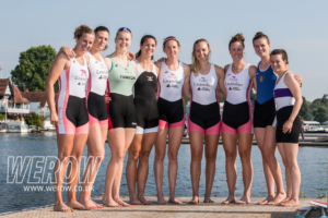 The GB women's eight on the dock at Leander Club, Henley on Thames