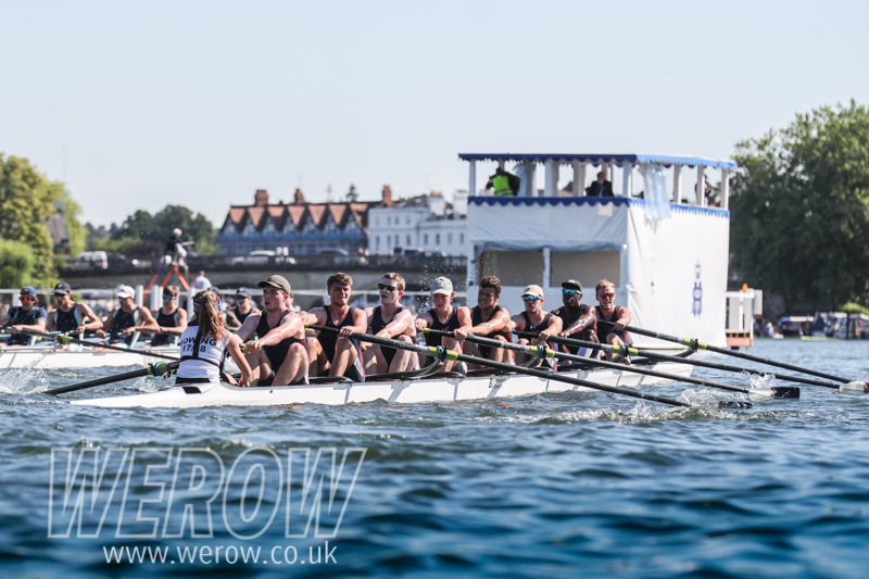 Bournemouth University Boat Club B at the end of the Time Trial at Henley Royal Regatta 2018 where they failed to qualify for the Temple Cup