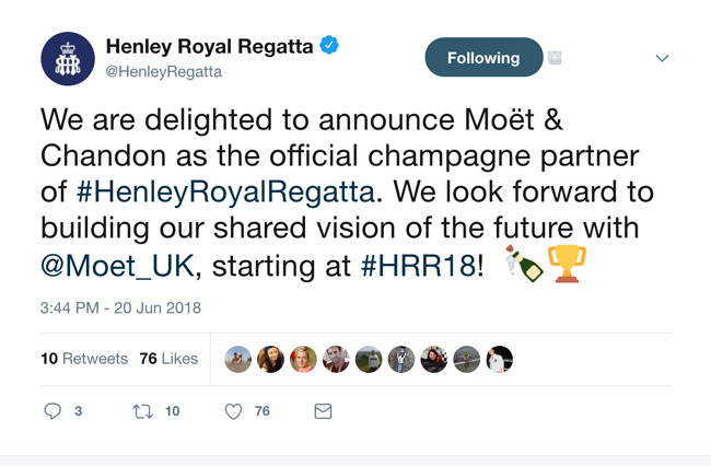 Henley Royal Regatta announces a shared vision with French-owned luxury LVMH brand, Moet & Chandon