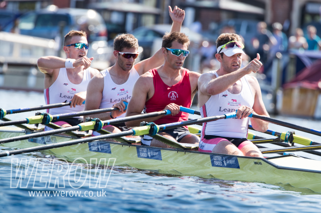 The GB quad of John Collins, Jonny Walton, Graeme Thomas and Tom Barras winning at Henley Royal Regatta
