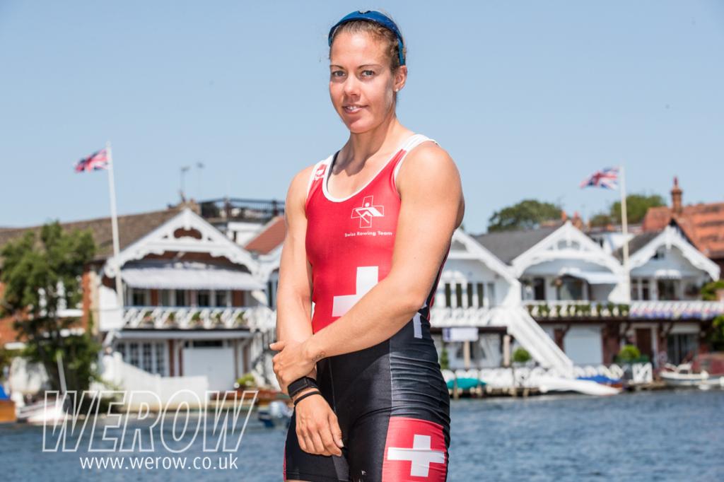 Jeannine Gmelin on the pontoons at Henley Royal Regatta