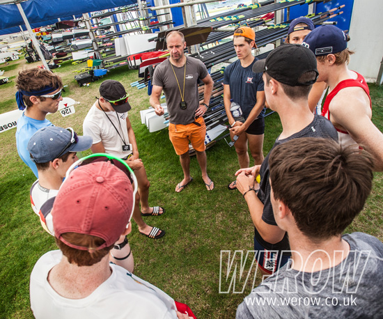 Bobby Thatcher briefing St Pauls Princess Elizabeth crew in the boat tents at Henley on Tuesday