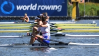 Imogen Grant sculling in her heat at the World Rowing U23 Championships in Poznan, Poland