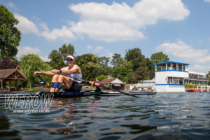 Mahe Drysdale rowing up the Henley Royal Regatta course to his sixth victory