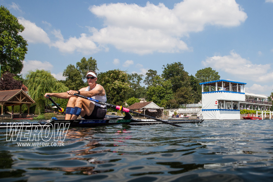 Mahe Drysdale rowing up the Henley Royal Regatta course to his sixth victory in the Diamond Sculls