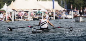 Mahe Drysdale crossing the line at the end of the Diamond Challenge Sculls at Henley Royal Regatta 2018