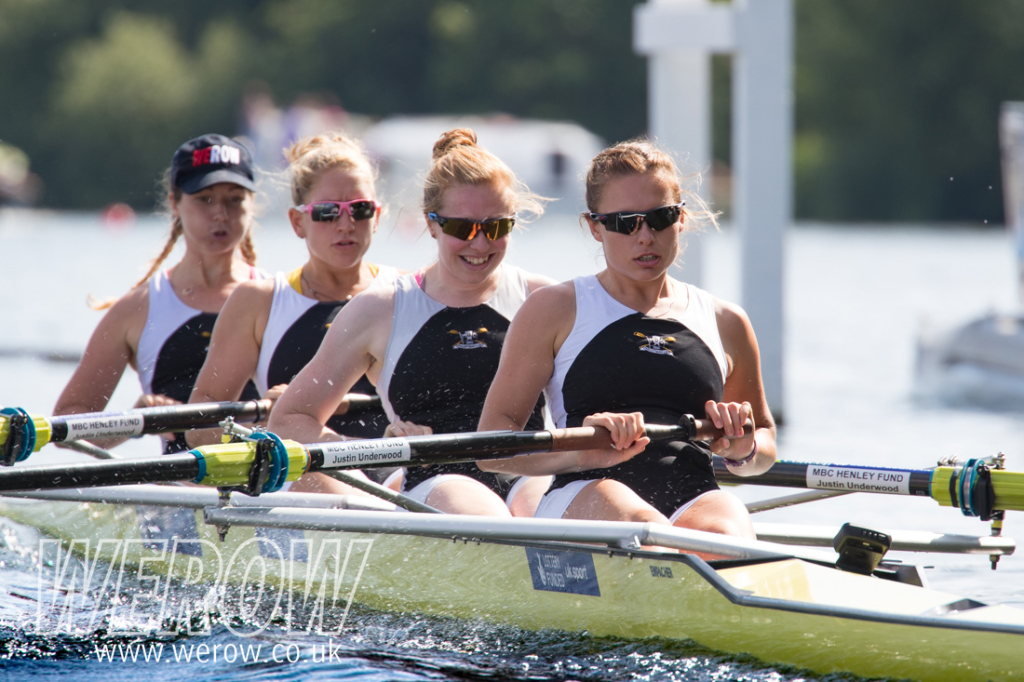 Emma McDonald, Lucy Primmer, Rebecca Edwards and Katie Bartlett racing in the Town Challenge Cup at Henley Royal Regatta 2018