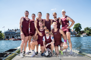 The winning Oxford Brookes crew after beating their team mates in the final of the Ladies Plate at Henley Royal Regatta 2018