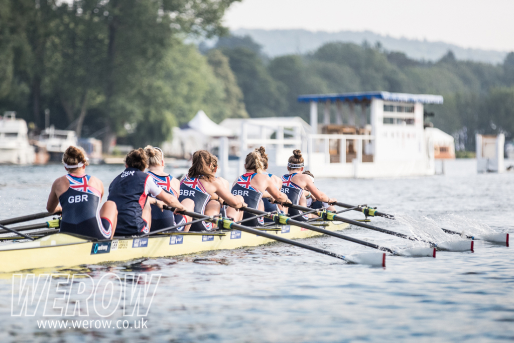 The GB women's eight on the dock at Leander Club, Henley on Thames on the eve of their Remenham Cup race