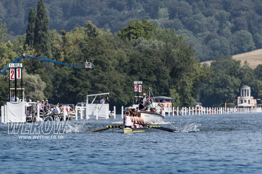 The GB women's eight rowing down the course at Henley Royal Regatta winning their Saturday Remenham Cup heat