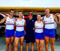 The GB U23 quad M4x Sam Meijer, Josh Armstrong, Matt Haywood and Rowan Law with coach Kieran Clark