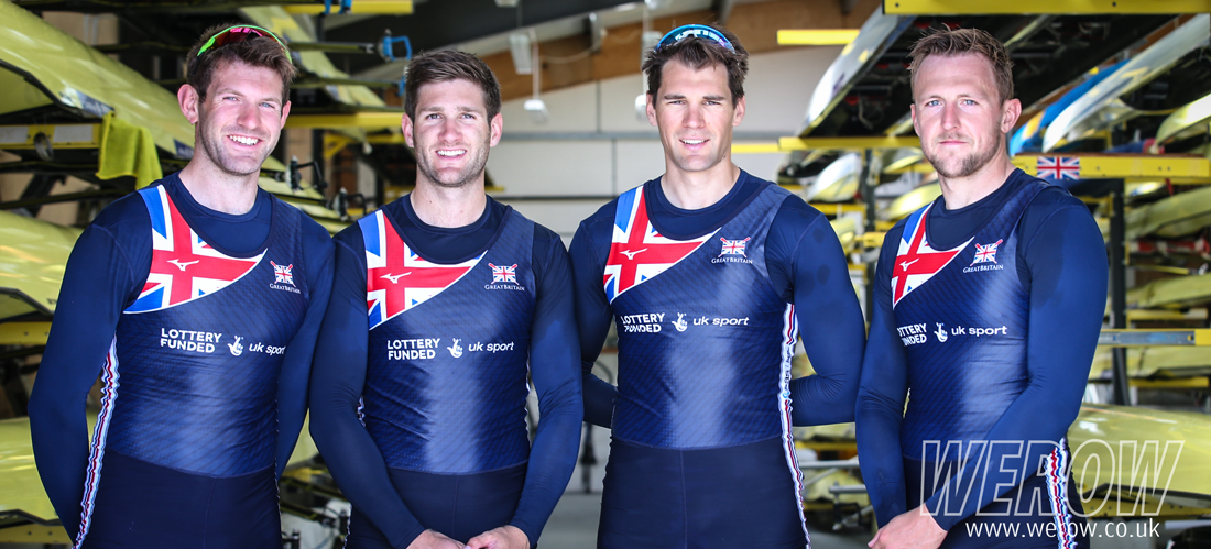 The British Rowing men's quadruple scull for the World Rowing Championships - Thomas, Collins, Barras and Walton