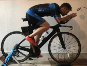 Chris Bartley on his turbo trainer at home