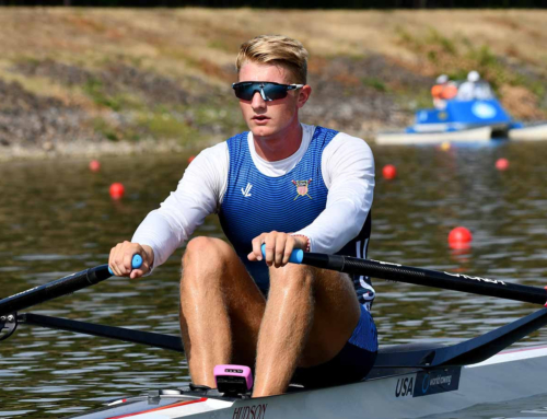Clarke Dean of USA sets worlds best time for the junior single scull in Racice