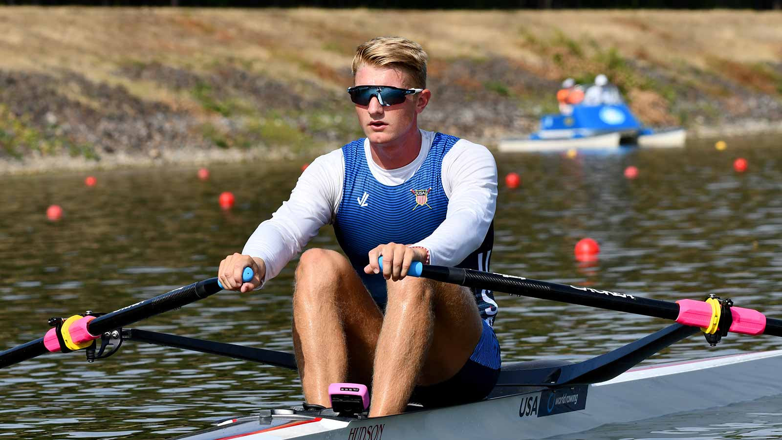 Clark Dean on the start on the opening day of the World Rowing Junior Championships