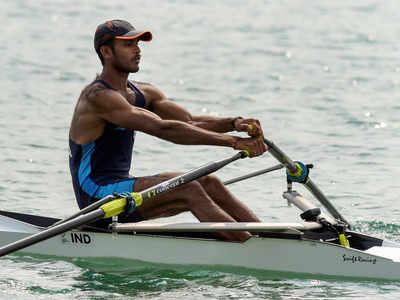 Dattu Bhjokanal Indian single sculler at the Asian games 2018.jpg