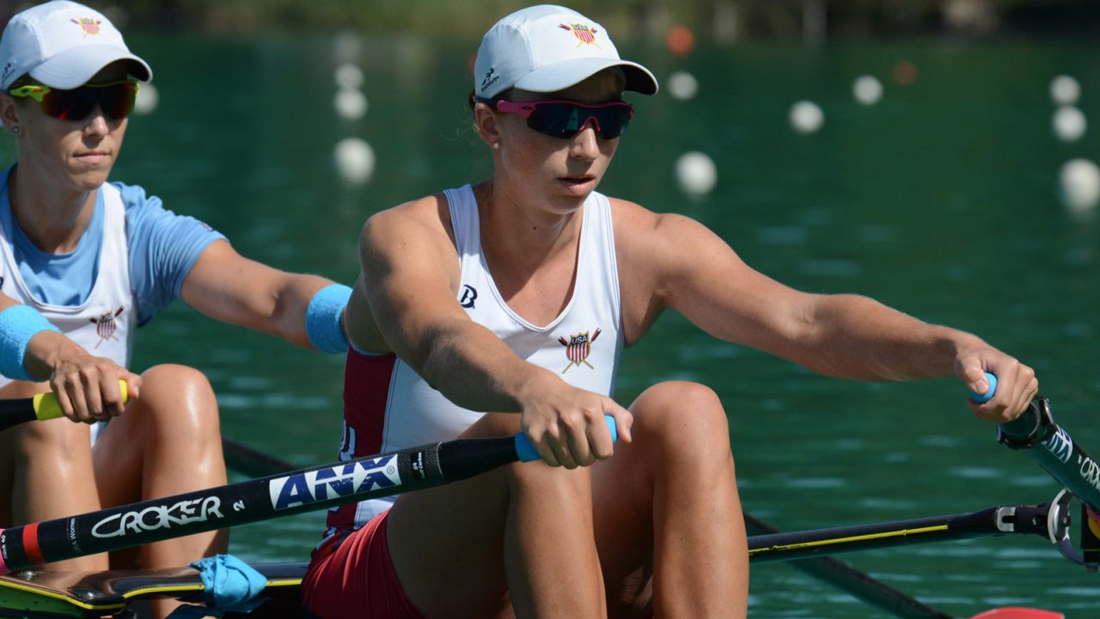 Olivia Coffey of the USA womens eight heading for the world rowing championships 2018 - Olivia Coffey rounds off a busy year at WRChamps with Team USA