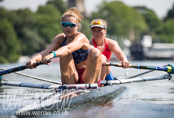 Susie Dear and Frances Russell training for FISU at Molesey Boat Club