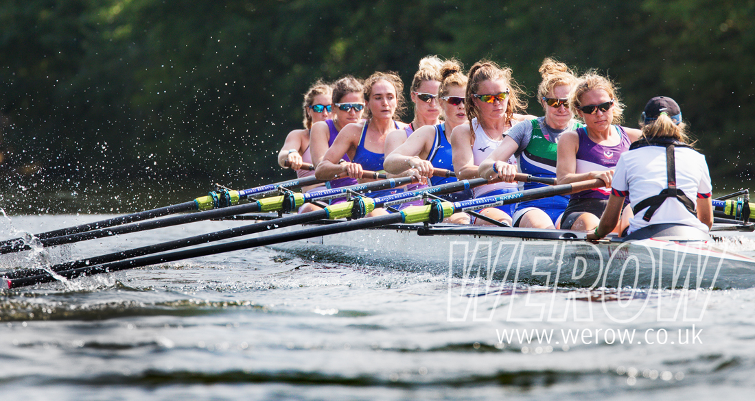 The FISU women's eight training at Molesey Boat Club