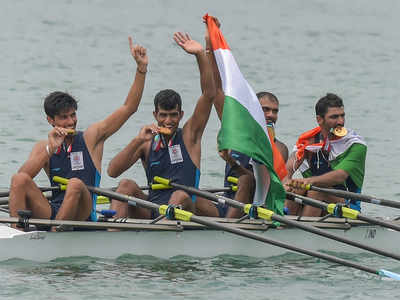 The winning Indian quadruple scull at the Asian Games 2018 in Indonesia