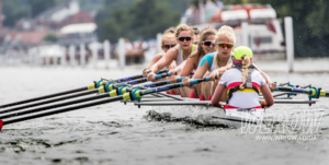 Bethan Walters racing with the Tideway Scullers School rowing club womens eight at Henley Royal Regatta in 2018