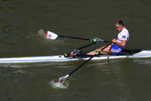 Harry Leask sculling in the final of the World Rowing Championships 2018 in Plovdiv, Bulgaria