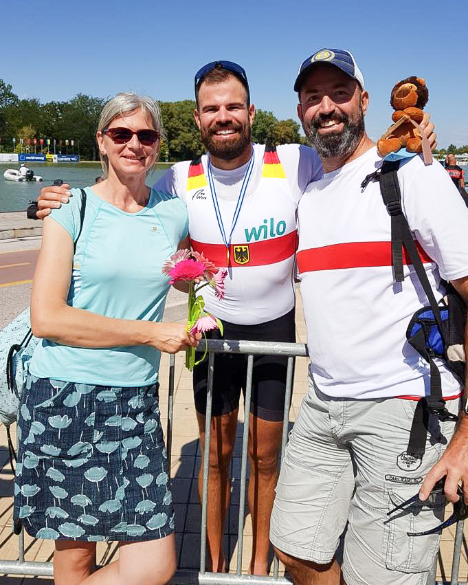 Max Planer of the German mens eight with his parents at the World Rowing Championships in Plovdiv, Bulgaria