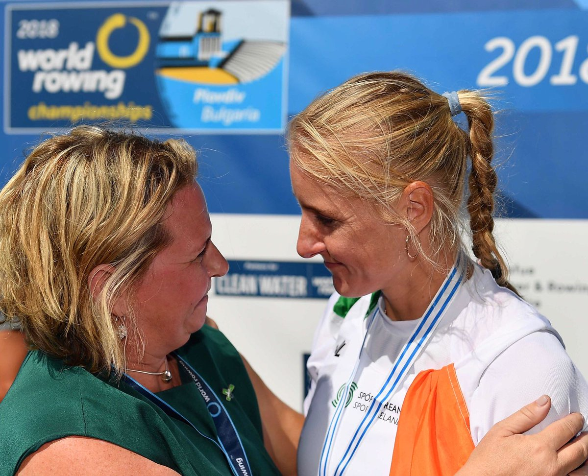Michelle Carpenter and Sanita Puspure at the World Rowing Championships in Plovdiv 2018