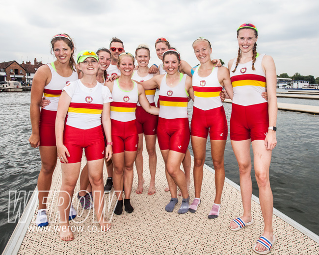 Bethan Walters with the tideways scullers school womens eight at Henley Royal Regatta in 2018
