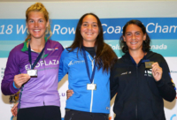 Diana Dymchenko winning at the world Rowing Coastal Championships 2018