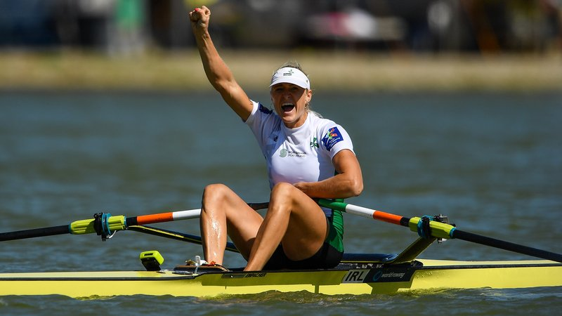 Sanita Puspure of Ireland winning a the 2018 World Rowing Championships
