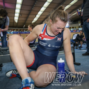 Alice Baatz experiences the pain of winning the British Rowing Indoor Championships 2018
