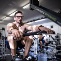 Josh Bugajski on the erg Concept2 at Oxford University Boat Club