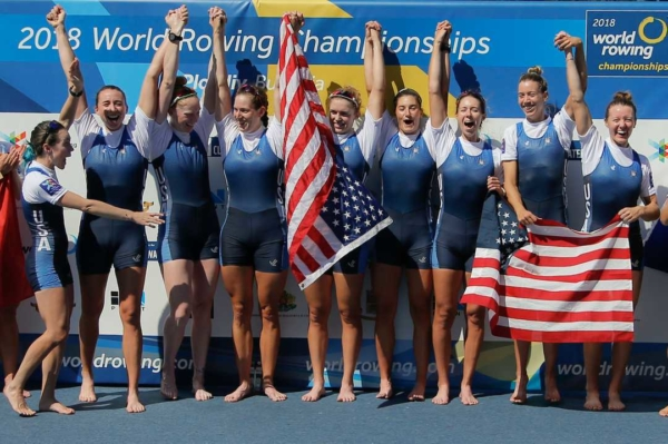Olivia Coffey and Team USA at the World Rowing Championships 2018 600x399 - Olivia Coffey tops USRowing Fan's Choice Awards