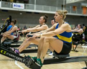 Sanita Puspure beating her personal best at the Irish Indoor Rowing Championships 2018 (Image: John O'Shaughnessy)