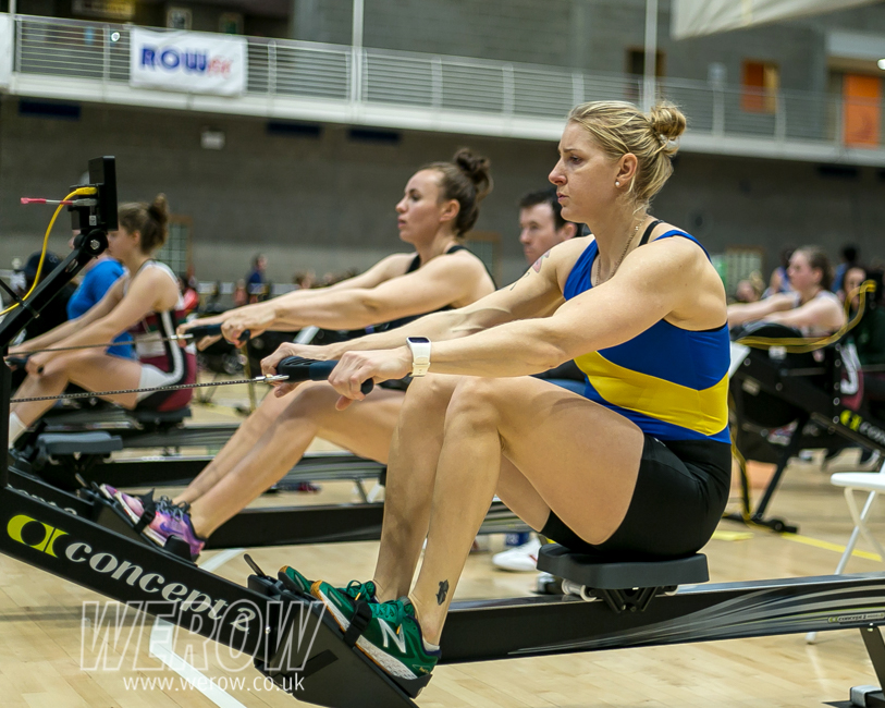Sanita Puspure beating her personal best at the Irish Indoor Rowing Championships 2018 (Image: John O'Shaughnessy)